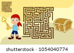 square maze game for kids with... | Shutterstock .eps vector #1054040774
