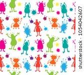 seamless monster pattern vector ... | Shutterstock .eps vector #1054042607