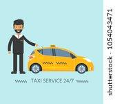 machine yellow cab with driver... | Shutterstock .eps vector #1054043471