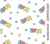 cute hand drawn unicorn vector... | Shutterstock .eps vector #1054051064