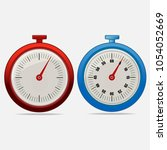 red and blue realistic timers 5 ... | Shutterstock .eps vector #1054052669