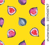 figs. watercolor hand painted... | Shutterstock . vector #1054068767