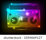 bright tape recorder with...   Shutterstock .eps vector #1054069127