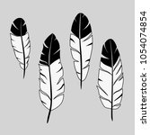 feathers  ink hand drawn stock... | Shutterstock .eps vector #1054074854