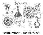 pizza  chianti wine  mozzarella ... | Shutterstock .eps vector #1054076354