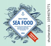 sea food banner. hand drawn sea ... | Shutterstock .eps vector #1054076771