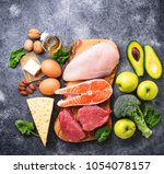 healthy low carbs products.... | Shutterstock . vector #1054078157