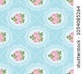 shabby chic rose seamless... | Shutterstock .eps vector #1054085264