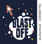 tee print design with spaceship ... | Shutterstock .eps vector #1054087751