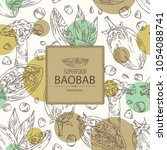 background with baobab  baobab... | Shutterstock .eps vector #1054088741