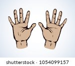 outstretched child handprint... | Shutterstock .eps vector #1054099157