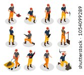 isometric mining characters set ... | Shutterstock .eps vector #1054099289