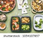 healthy balanced lunch box... | Shutterstock . vector #1054107857