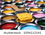 metal tin cans with color paint ... | Shutterstock . vector #1054112141