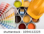 paint can with a paintbrush | Shutterstock . vector #1054112225