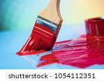 metal tin cans with color paint ... | Shutterstock . vector #1054112351