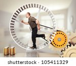 Man Run On Hamster Wheel