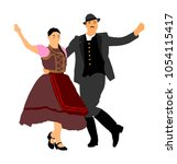 hungarian folk dancers couple... | Shutterstock .eps vector #1054115417