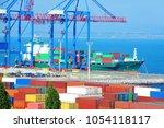 port cargo crane  ship and... | Shutterstock . vector #1054118117