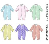 set of cute baby clothes | Shutterstock .eps vector #1054118411