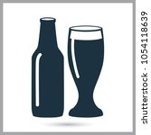 bottle and glass of beer simple ... | Shutterstock .eps vector #1054118639