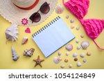holiday plans at sea   otepad ... | Shutterstock . vector #1054124849