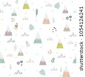 cute mountains  plants and... | Shutterstock .eps vector #1054126241