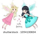 two hand drawn beautiful cute... | Shutterstock .eps vector #1054130834