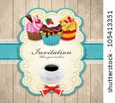 vintage frame with cupcake  ... | Shutterstock .eps vector #105413351