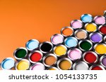 colorful paint cans set | Shutterstock . vector #1054133735
