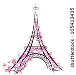 eiffel tower  paris  france | Shutterstock .eps vector #105413435