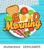 good morning breakfast on the... | Shutterstock . vector #1054136855