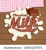 splashed chocolate milk top... | Shutterstock . vector #1054137071