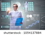woman doctor in telemedicine... | Shutterstock . vector #1054137884