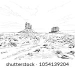 desert of north america arizona.... | Shutterstock .eps vector #1054139204
