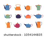 set of kettles and teapots on... | Shutterstock .eps vector #1054144835