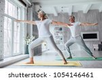 senior couple is doing fitness... | Shutterstock . vector #1054146461