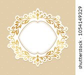 baroque gold frame at the oval... | Shutterstock .eps vector #1054149329