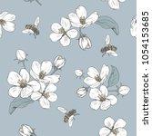 blooming tree. seamless pattern ... | Shutterstock .eps vector #1054153685