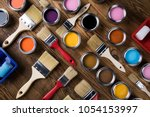 painting tools and accessories... | Shutterstock . vector #1054153997