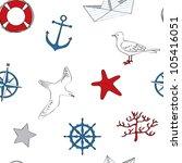 cute nautical seamless | Shutterstock .eps vector #105416051