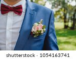 groom in a jacket. the morning... | Shutterstock . vector #1054163741