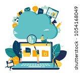 vector flat illustration  cloud ... | Shutterstock .eps vector #1054168049