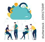 vector flat illustration  cloud ... | Shutterstock .eps vector #1054171049