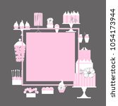 wedding candy bar with cake .... | Shutterstock .eps vector #1054173944