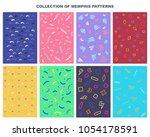 collection set of memphis...   Shutterstock .eps vector #1054178591