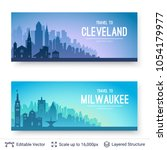 cleveland and milwaukee famous... | Shutterstock .eps vector #1054179977