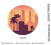 miami famous city scape. flat... | Shutterstock .eps vector #1054179995