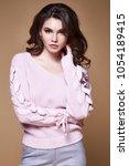 beautiful sexy woman long... | Shutterstock . vector #1054189415