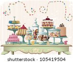 different cakes and glass jars... | Shutterstock .eps vector #105419504